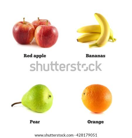 Pear, banana and red apple. Orange fruit isolated. Fresh natural banana. Health organic banana. Object on white background. Beautiful tasty banana. - stock photo