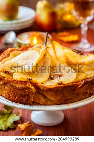 Pear cake for autumn holiday - stock photo