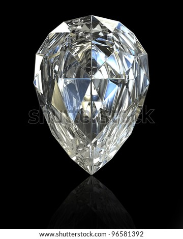 Pear cut diamond, isolated on black background - stock photo