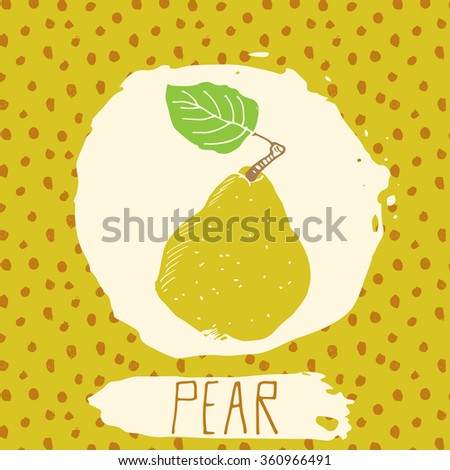 Pear hand drawn sketched fruit with leaf on background with dots pattern. Doodle pear for logo, label, brand identity. - stock photo