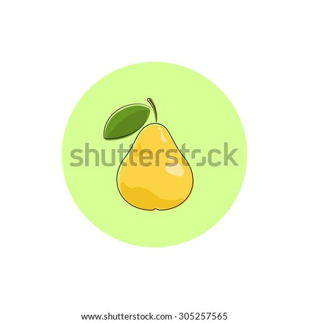 Pear, Icon Colorful Pear,  Fruit Icon - stock photo
