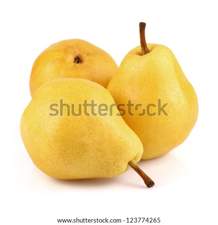 Pear in closeup on a white background - stock photo