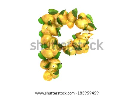 Pear letter P on white background - stock photo