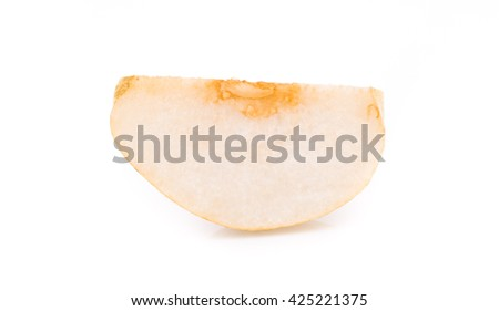 pear slice isolated on white background - stock photo