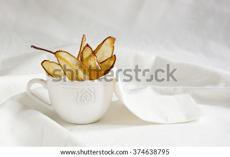 pear sugar chips, back light  - stock photo