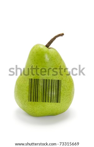 Pear with Bar Code on white background