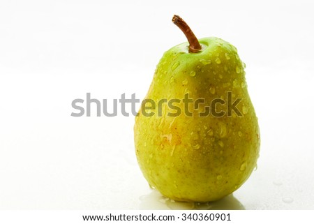 Pear with droplet on the white background