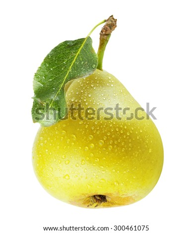 pear with water drops isolated on the white background - stock photo