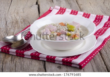 pearl barley soup with leek, carrots and meat
