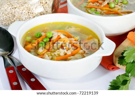 pearl barley soup with vegetables - stock photo