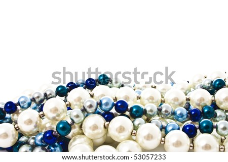 pearl beads isolated on white - stock photo
