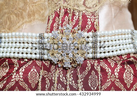 Pearl belt and jewellery