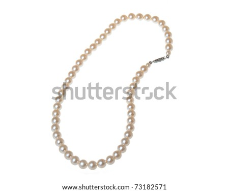 Pearl bracelet isolated on white - stock photo