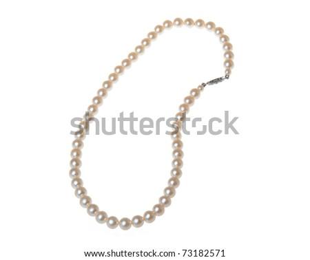 Pearl bracelet isolated on white - stock photo