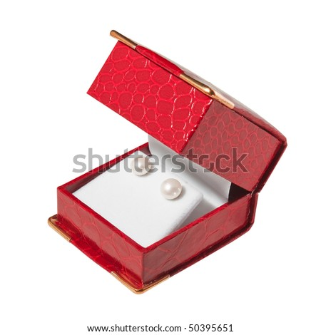 Pearl earrings in red box. Isolate on white. Clipping path. - stock photo