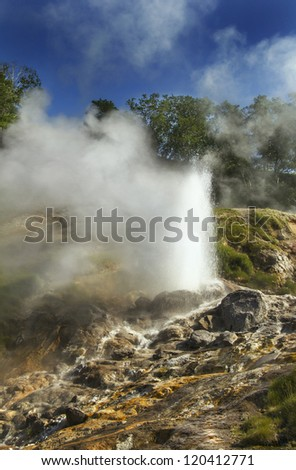 Pearl geyser eruption in the Valley of Geysers, world heritage site
