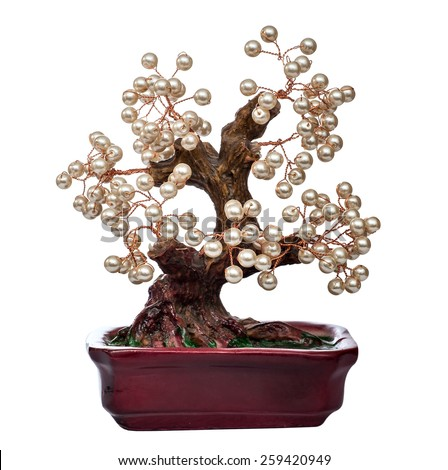 pearl handmade bonsai tree  isolated on white background - stock photo