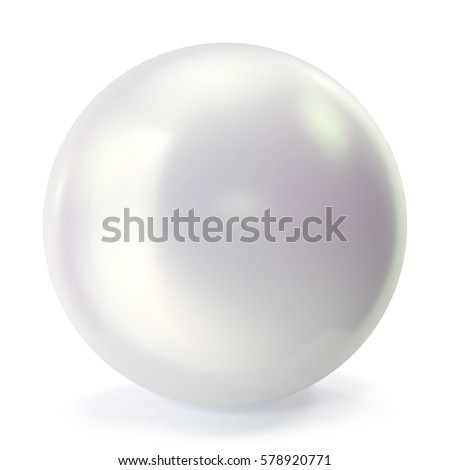 Pearl isolated on white backgorund. Oyster pearl ball for luxury accessories. Sphere shiny sea pearl, 3d rendering