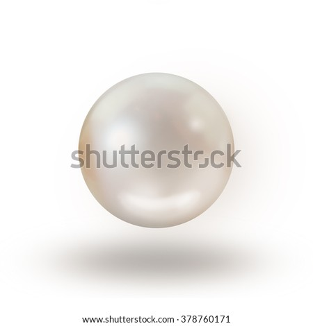 Pearl isolated on white background with shadow