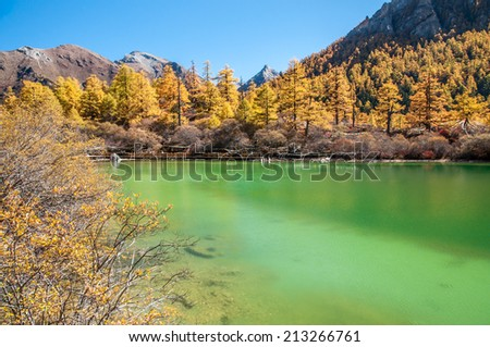 Pearl Lake in Yading national level reserve, Daocheng, Sichuan Province, China.