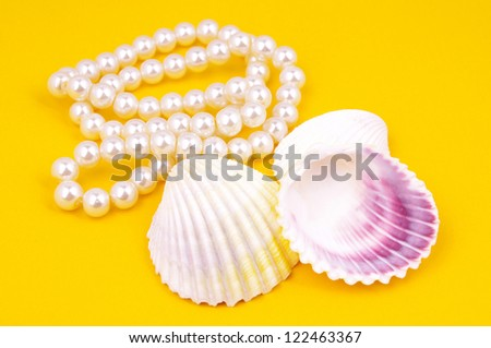 Pearl necklace and shell
