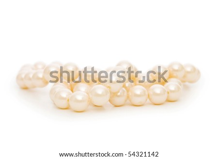 Pearl necklace isolated on the white background - stock photo