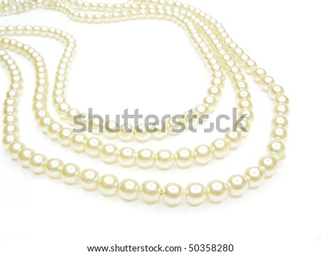 pearl necklace isolated on white background - stock photo