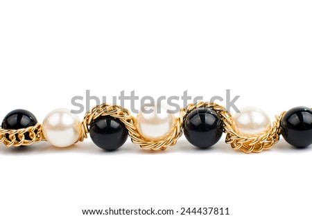 Pearl necklace over white background - stock photo