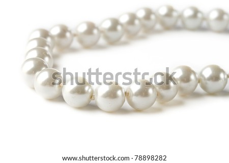 Pearl on white background - stock photo