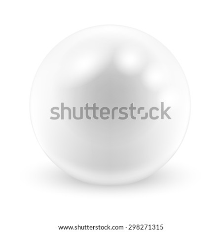 Pearl on white background. Illustration. - stock photo