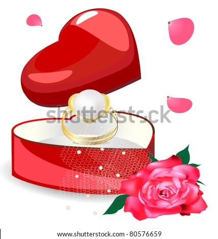 pearl ring in the box-heart - stock photo