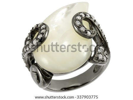 Pearl ring on white background - stock photo