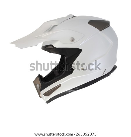 Pearl white motocross motorcycle helmet Isolated on white background - stock photo