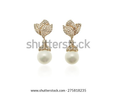 Pearls and diamonds earrings in pink gold isolated on white background - stock photo