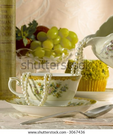 Pearls and Tea - stock photo