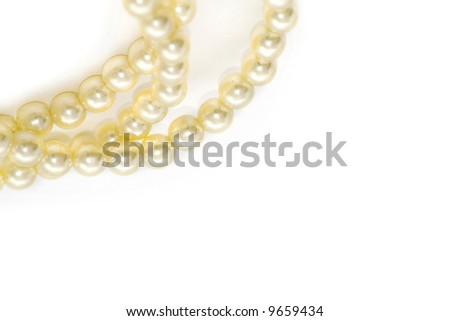pearls isolated on white - stock photo