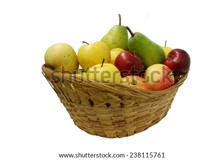 Pears and apples in a wicker basket - stock photo