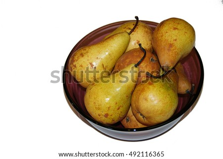 Pears clustered in a bowl.