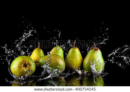 Pears fruits and Splashing water - stock photo