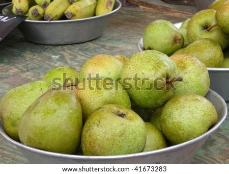 Pears on market - stock photo