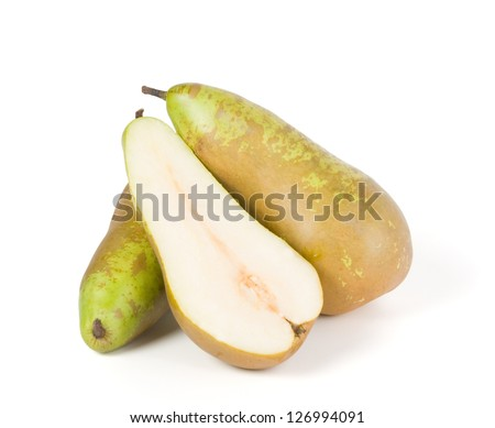 Pears. One sliced pear slices, another whole. Isolated on white background. - stock photo