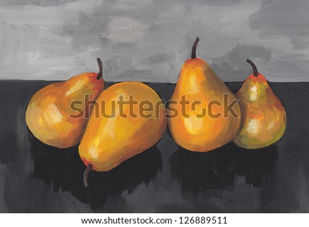 Pears Painting - stock photo