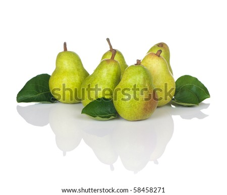 Pears with leaves in a grouping of six, fresh, ripe, and delicious. - stock photo