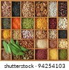 Peas, beans and lentils in wooden box - stock photo