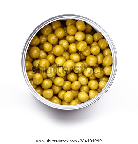 Peas in a tin can isolated on white. Top view. - stock photo