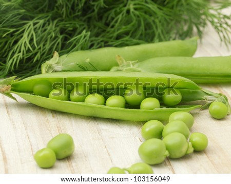 peas with fennel - stock photo