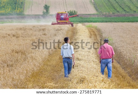 Peasant and business man walking on wheat field during harvest - stock photo