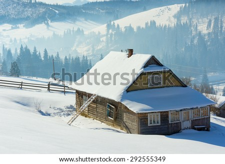 Peasant house in Carpathian Mountains - stock photo