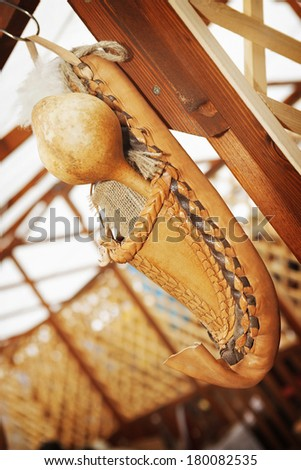 Peasant shoe/Traditional shoe souvenir with gourd. - stock photo
