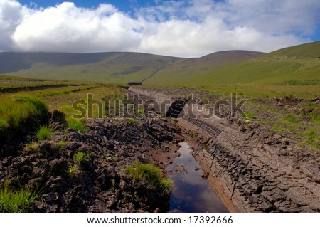 peat bog in Co.Mayo,after peat harvesting - stock photo